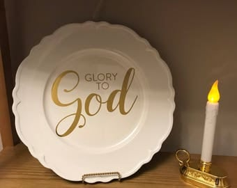 Decorative Charger Plate - Glory to God