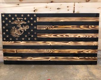 United States Marines Rustic Burnt Flag