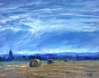 "Landscape Painting- Farm Painting- ""Harvest""- 8x10 Inch Original Oil Painting"