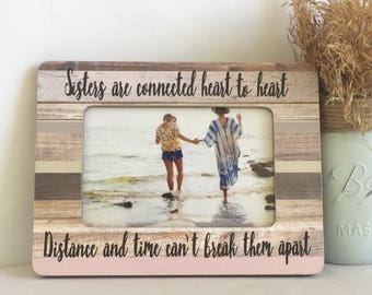 Sisters frame, long distance frame, sibling frame, personalized sister, personalized sister gift, personalized frame, friend frame