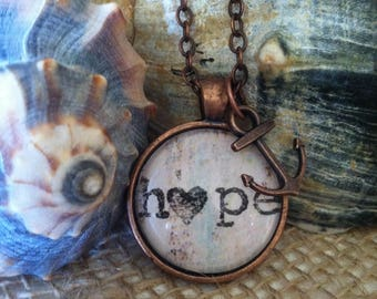 Stamped Hope Pendant Necklace