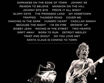 Bruce Springsteen Concert Setlist DIGITAL FILE Printable