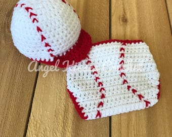 Newborn baseball outfit, crochet photo prop, baseball hat and diaper cover, 0-3 months, baby, photography prop, baseball set, sporty crochet