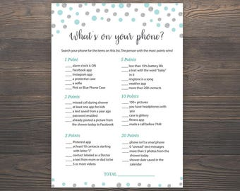 Whats on your Phone, Blue Silver Baby Shower Games, Printable Baby Shower, Boy Baby Shower, Cell Phone Game, Whats in your Phone, S010