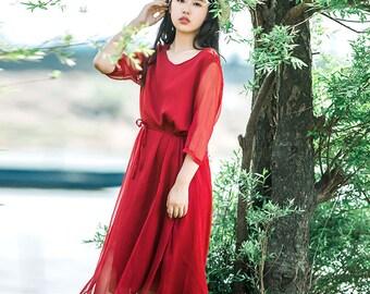 Chiffon dress,maxi dress ,party dress,summer dress,Handmade dress
