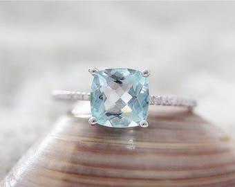 Cushion Cut 8mm in 14k White Gold Aquamarine Diamond Engagement Ring Enagement Wedding Ring Diamond Ring Wedding Ring