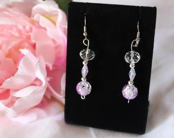 Pink and black bead drop earrings