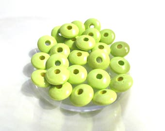 50 pacifier - lime green flat wooden beads