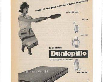 old advertising Dunlopillo mattress 50s