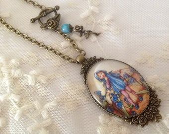 Cameo necklace fairy blue flowers.