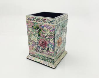 Mother Of Pearl Inlay Butterfly and Flower Laquer Pen Holder, Abalone Shell