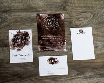 Watercolor Rose Wedding Invitation Set
