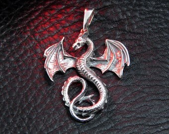 Silver dragon pendant necklace, Mother of Dragons necklace, dragon jewelry, medieval pendant statement necklace fantasy jewelry gift for her