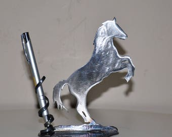 metal silhouette horse prancing horse pen holder