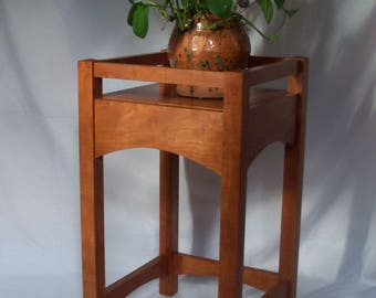 Arts and Craft Style Plant Stand, Stickley Plant Stand, Cherry, Wood Plant Stand, Craftsman, Mission, Accent Table, Decor Table, Fern Table