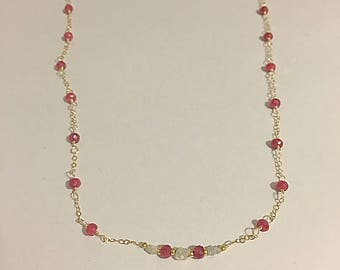 Delicate rubies and diamonds necklace
