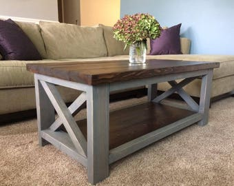 Overlapping X Farmhouse Coffee/End Table Set