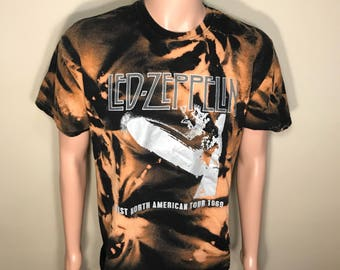 Custom Led Zeppelin tour shirt // acid bleach washed // Vintage tour tee // faded distressed // First American Tour 1969 // adult size Large