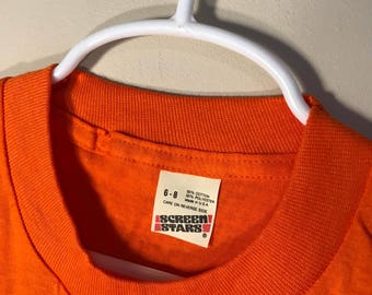 Vintage Screen Stars youth SHIRT // 50/50 blend paper thin // blank deadstock t-shirt // kids 6-8 Orange //