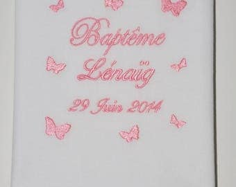 baptism baby girl pink personalized embroidered Butterfly scarf