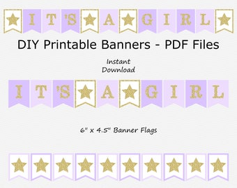 It's A Girl Banner - Purple & Gold Glitter - Baby Shower - Twinkle Twinkle Little Star - PRINTABLE - INSTANT DOWNLOAD