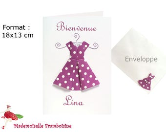 Card congratulations newborn little girl, Origami dress violet
