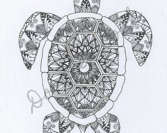 Instant Download Adult Colouring Page Turtle Mandala Zentangle Digital Image