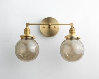 Bathroom Light Fixture Vanity Lamp Brass Vanity Smoked Glass Globe Light
