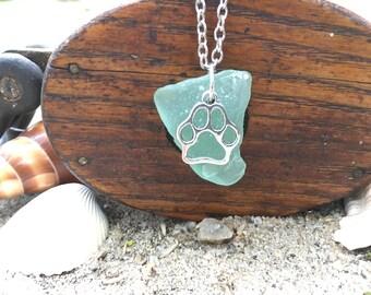 Light blue/green beach glass necklace