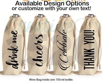 Custom Wine Tote Bag | Wine Drawstring Bag | Wine Gift | Personalized Wine Tote | Wine Tote