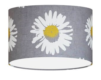 Yellow Grey Lampshade, Clarke&Clarke Fabric Shade, Flower Daisies, Table Floor Shade, Gift For Her, Large Lampshade, Lighting