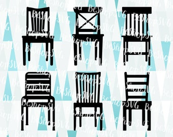 Chairs bundle SVG, Chair SVG, Armchair SVG, Furniture SvG, Home decor Svg, Wood Chair Svg, Instant download, Eps - Dxf - Png - Svg