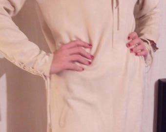 Short dress in ecru color faux suede