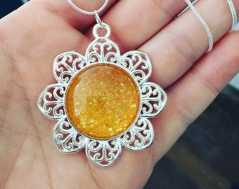 "SunFlower Pendant with 24"" Silver Necklace"