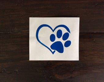 Dog Paw Decal, Heart and Paw Decal, Paw Decal, Yeti Cup Decal, Dog Mom Dog Decal, Yeti Tumbler Decal, Car Window Decal, Dog Mom Decal