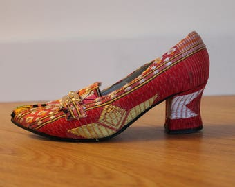 Vintage Woven Tapestry Heels | Bright Embroidered Pumps | US Size 6