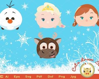 tsum tsum svg, frozen svg, elsa svg, olaf svg, Ana svg, Silhouete cut tsum Anna Elsa Olaf and Sven mini frozen vector, Silhouette Studio