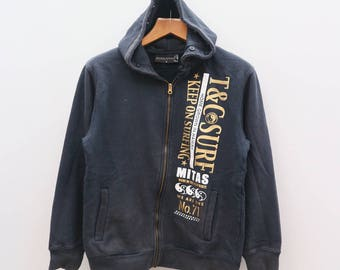 Vintage T&C SURF DESIGNS Town And Country Home Grown Hawaii Enjoy Surfin' Life Keep On Surfing Black Hoodies Sweater Sweatshirts Size M