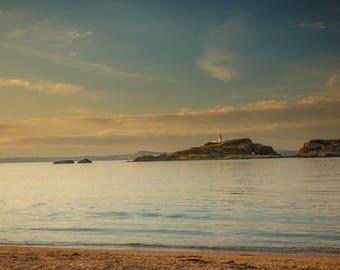 Fidra, lighthouse, scotland, sea, rocks, photography, wall art, seaside, shore, beach