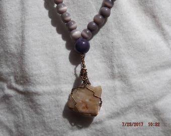 Milky White Quartz, Natural Stone Diffusing Necklace