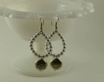 Earrings Pearl and lotus