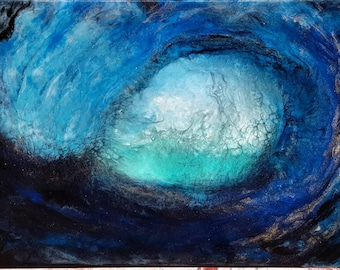 PIPELINE 2 layer resin art on deep edged stretched canvas 50cm x 80cm