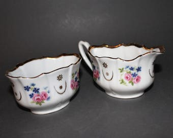 Antique Porcelain Creamer & Sugar Bowl - Silesia Tiefenfurt - K. Steinmann - 1920's
