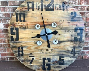 Reclaimed Wire Spool Clock