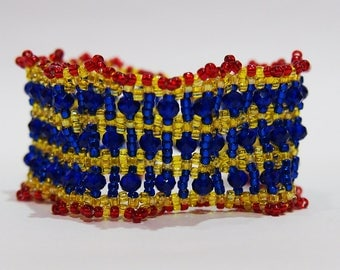 Red Yellow Blue Bracelet, Right Angle Weave