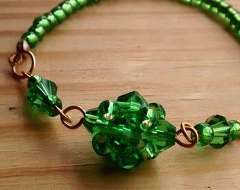 Green swarovski crystal elastic bracelet
