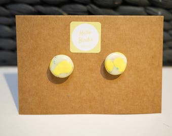 Polymer Clay Earrings - Yellow & White Varnished