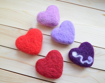 Props for photo shoot heart felted out of wool