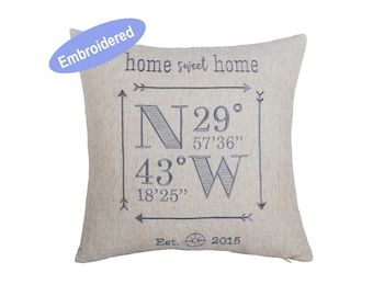 Longitude Latitude Coordinates embroidered Pillow Cover - Housewarming Gift - First Home - Graduation Gift -Vintage Farmhouse Christmas gift