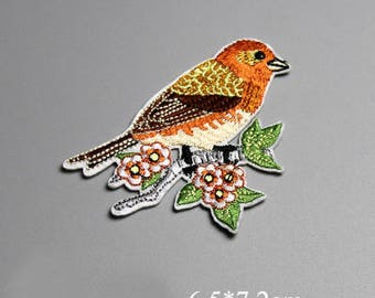 Iron-On Patches, Embroidery Bird on Branch Applique